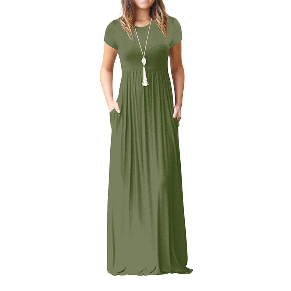 !Women O Neck Pocket Dress,Lkoezi Lady Casual Pockets Short Sleeve Floor Length Dress Tummy Loose Long Dress (XS, Green)