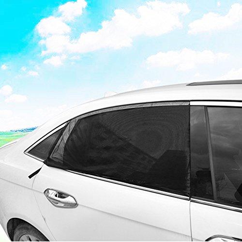 Ecent 2 PCS Rideau pare soleil fen/être de voiture en maille anti-uv anti-moustique pour la plupart des voitures