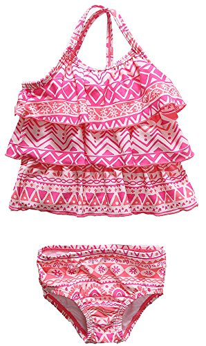 ATTRACO Baby Girl Cross Back 2 Piece Bathing Suit Tankinis Pink 6-12 Months