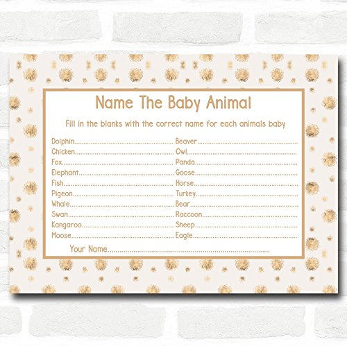 Neutral Gold Spots Baby Shower Games Baby Animal Cards