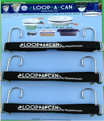 LOOP-A-CAN Adjustable Trash Can Elastic Band, Fits 1 Gal. To 55 Gal. Trash Cans or Barrels (Pack of 3)