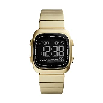 Fossil Mens Rutherford Quartz Stainless Steel Digital Watch Color: Gold (Model: FS5449)