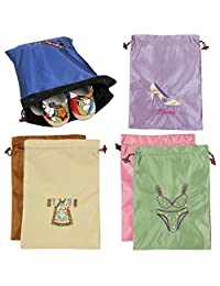kilofly 6pc Embroidered Silk Jacquard Travel Bag Shoes Lingerie Pouch Value Pack