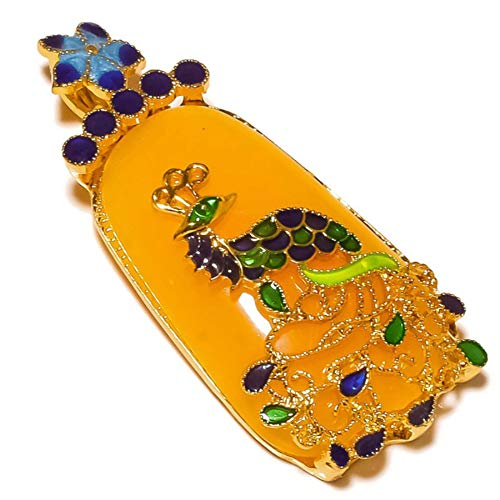 (Jewels House Yellow Chalcedony Gemstone Gold Plated Hand-Carved Cloisonne Peacock Shape Pendant)