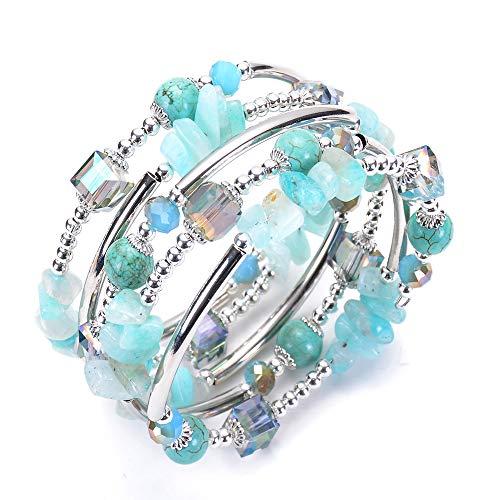 LINGFAN Crystal Wrap Bangle Bracelets for Women Boho Multilayer Strand Bracelet Made with Swarovski Crystals Turquoise Natural Stone Cuff Bangle Bracelets for Teen ()