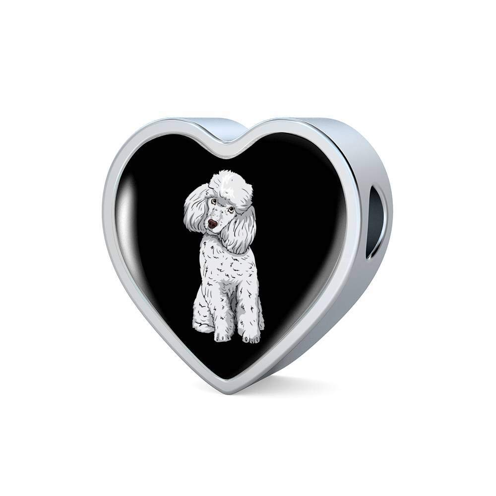 Funny Gift for Cute Dog Lovers Weezag Poodle Heart Charm Steel Bracelet