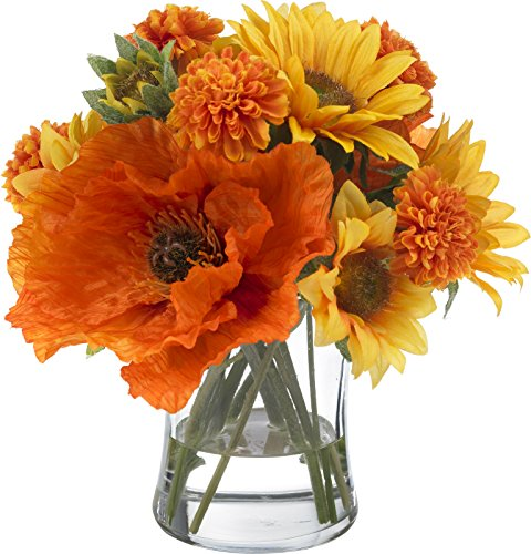 - BLOOMS by Diane James Faux Sunflower and Poppy Bouquet in Glass Vase