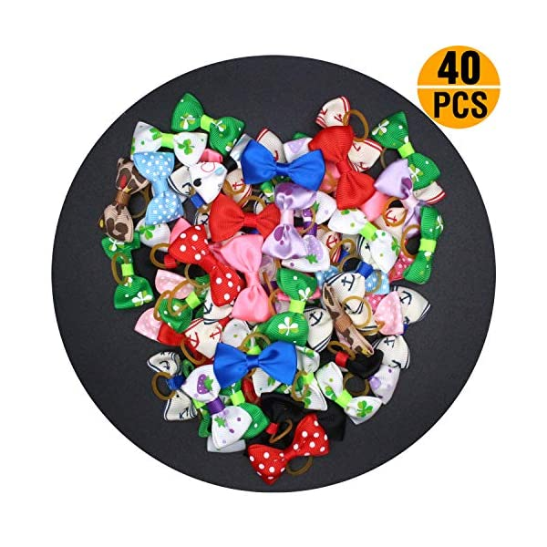 YOY 40 Pcs Adorable Grosgrain Ribbon Pet Dog Hair Bows with Elastics Ties – Stretchy Rubber Bands Doggy Kitty Topknot… Click on image for further info. 7