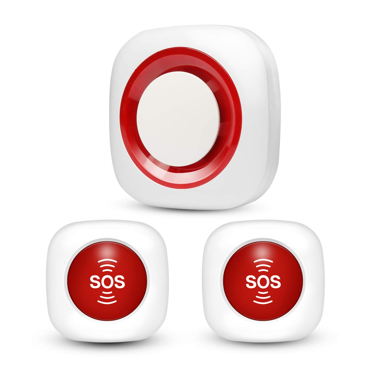 Wireless Smart Caregiver Pager Personal Alert Pager Call Button, GSM Nurses Call Alert System for Home Attendant, Nurses, Seniors and Disabilities, 1 Siren Receiver 2 SOS Button