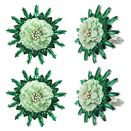 Green Rhinestone Lace Flower Napkin Rings Set of 4, Diamond Ring Napkin Holders Holiday Table Decor Gift for Valentine's Day, Wedding, Birthday Party, Thanksgiving Day, Dining Table Decoration