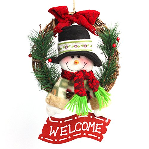Tinksky Christmas Wreath For Front Door Hang Garland with Santa Claus Snowman Ornaments Natural Rattan Wreath Holiday Door Hanger Wall Car Decoration 30cm (Snowman Style) (Fiber Optic Santa)