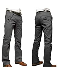 WSLCN Men's Chino Pants Cotton Casual Straight Trouser Solid Color (WITHOUT BELT)