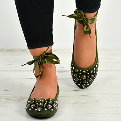 Cucu Fashion New Womens Ankle Wrap Flats Ladies Ballerina Pearl Diamante Studded Shoes Sizes Green oFF7I0