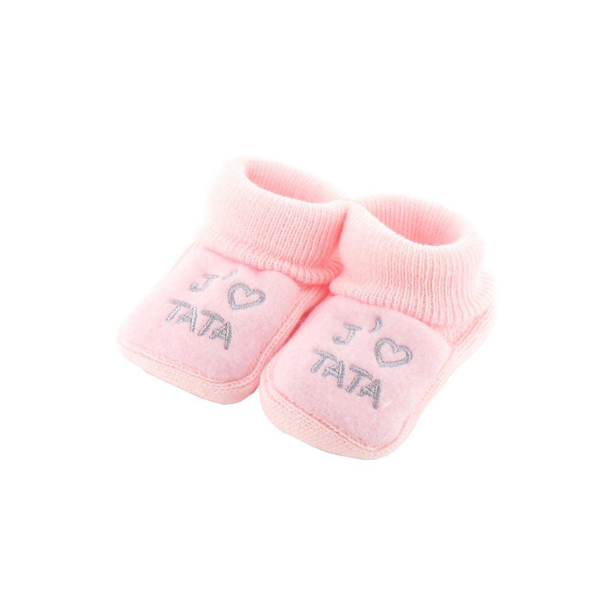 Chaussons pour bébé 0 à 3 Mois rose - J'aime tata Fruit de ma Passion
