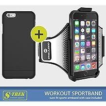 "iPhone 6 Plus 5.5"" Secure-fit Workout Armband + Sport Case (effortless Click-N-Go mounting system) (S-TREK By Encased) Black"