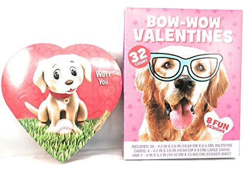 Dog Bow-Wow Valentine's Day Cards and Stickers Set with Chocolate Heart Teacher's Gift For School Class Party