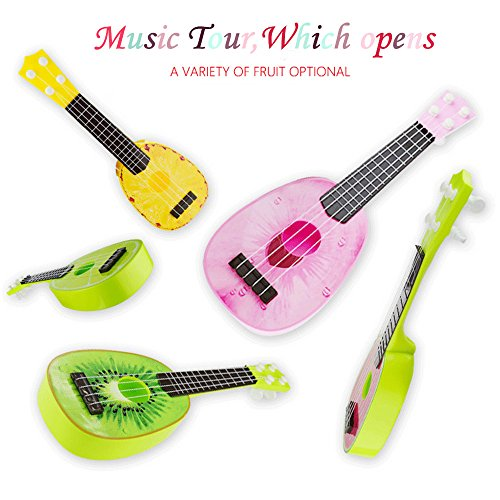 Amazon #LightningDeal 77% claimed: Children Learning Guitar Toys Fruits Style 4 Strings Play Simulation Early Educational Musical Instruments Kids Gift (Random color)