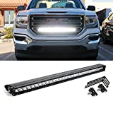 """iJDMTOY 30"""" 150W High Power CREE LED Light Bar with Hidden Behind Grille Mounting Bracket & Relay Wire Switch For 2014-17 GMC Sierra 1500, 2014-15 Chevy Silverado 1500"""