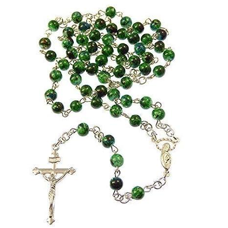 ce9287a3daf8 Verde oscuro mármol estilo 6mm cuentas vidrio Cuentas de rosario collar  Cristiano plata  Amazon.es  Hogar