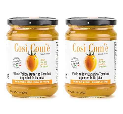 Così Com'è - Italian Whole Yellow Datteerino Tomatoes Unpeeled in Tomato Juice, Each Jar 12oz (350g) / Drained 7.4oz (210g) - Pack of 2