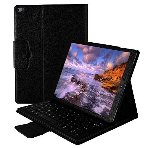 Smart Keyboard Case for iPad Pro 12.9 with Adjustable Stand, Leather Magnetic Detachable Wireless Bluetooth Keyboard Cover Compatible Apple iPad Pro 12.9 Inch 1st 2nd Generation 2015 2017 (Black)