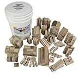 Back to Blocks Super Stacker Large Set of Wooden Blocks 190 Natural Wood Building Blocks, 24 Shapes in Large Storage Bucket