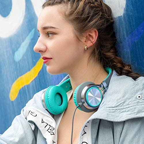 AILIHEN C8 Headphones with Microphone and Volume Control Folding Lightweight Headset for Cellphones Tablets Smartphones Laptop Computer PC Mp3/4 (Grey/Mint) 51UDbpCr3JL