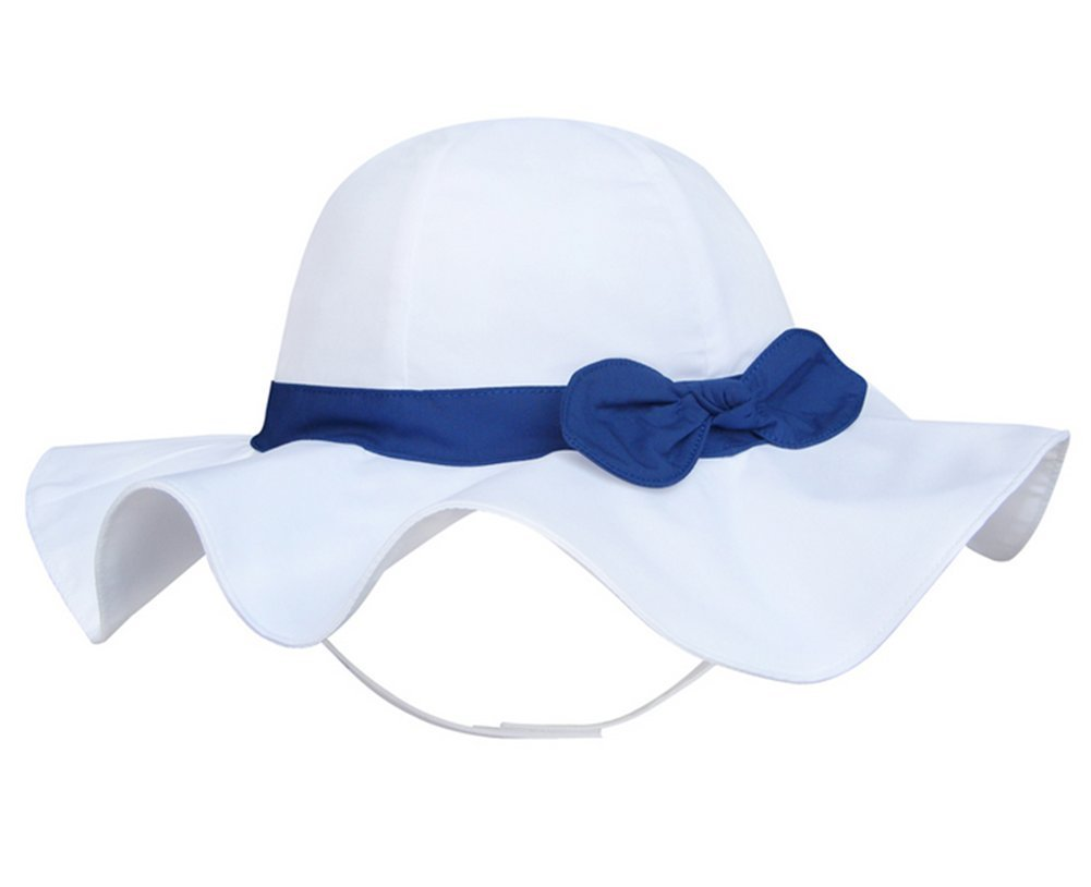 Turkoni Spring/summer/Autumn baby girl bowknot Cotton Hat/Beach cap/outdoor Hat (43cm(16.9'')/3-6 month, White-blue)