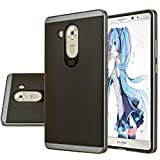 HUAWEI Mate 8 Case, Aomax® Armor [Dual Bumper] Slim Fit Skin Silicone Case + PC Bumper Frame+ Metallized Buttons For HUAWEI Mate 8 (DHF Metal slate)
