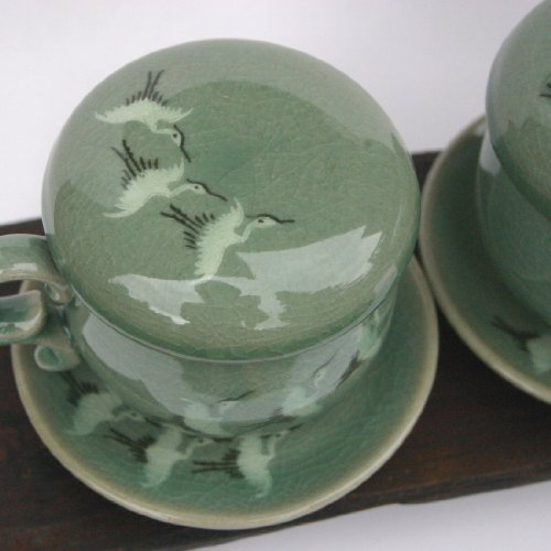 Korean celadon infuser cup & saucer /set of 2 /hand painted