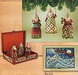 Set of 3 Santa Ornaments with Decorative Box: Santa's Christmas Greeting