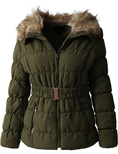Belted Lined Coat - Hat and Beyond Womens Quilted Faux Fur Lined Belted Coat (Medium/ gj1133_Olive)