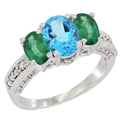 Oval Emerald 3 Stone Ring - 5