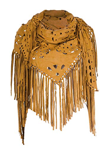 Women's Suedette Laser Cut Fringed Cape Shawl Triangle Wrap Scarf (Brown)