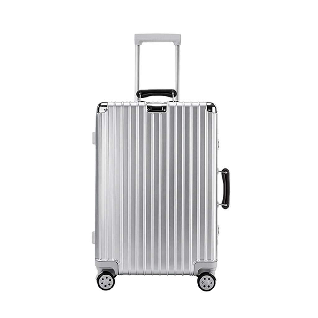 ZHAOSHUHLI スーツケースファッションポータブルアルミフレームトロリーケース防水荷物男性ユニバーサルホイール税関ロックスーツケース大容量 (色 : シルバー しるば゜, サイズ さいず : 24'') 24'' シルバー しるば゜ B07R297BCB