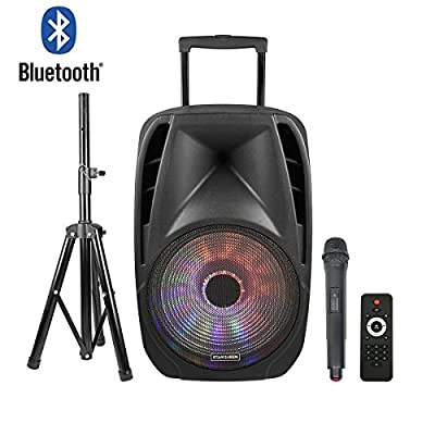 STARQUEEN Portable Bluetooth PA System with Rechargeable Battery, USB/SD/FM Radio Function, Mic/Guitar Jack, Black by STARQUEEN