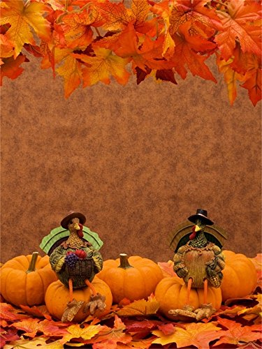 (Laeacco 4X5FT Vinyl Photography Background Pumpkins Leaves Turkey Sitting Maple Leaves Border Thankgiving Halloween Festival Party Holiday Personal Portraits Children Shooting Video Studio)