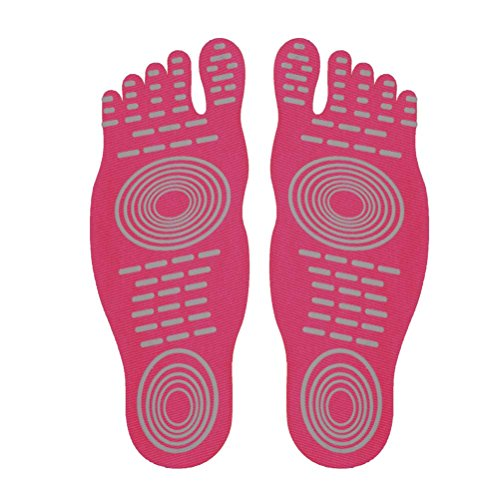 for Foot Anti Surf Beach Pads Pair DD Insoles Soles On Socks Stick Pool Slip Barefoot Red Rose 1 ffwv8