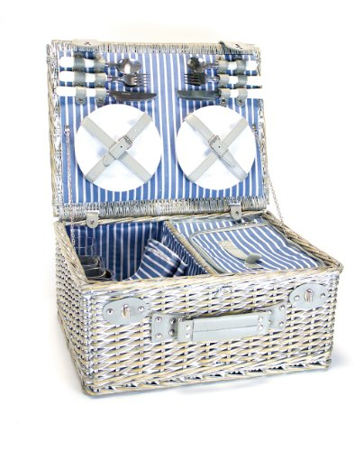 YELLOWSTONE 4 PERSON WICKER PICNIC BASKET WITH COOLER COMPARTMENT (GREY) (Yellowstone Picnic Basket)