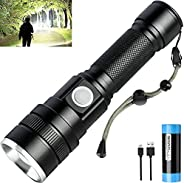 Strong Rechargeable Flashlight, LED Flahlight 10000 Lumens with IPX5 Waterproof, 3 Lighting Modes Strong Flash