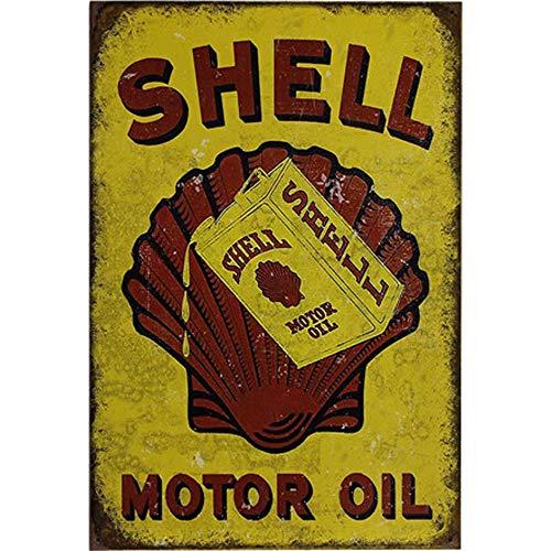 Poeni Vintage Shell Metal Sign Motor Oil Garage Signs Men Home Decor Tin Art Decor Drip Tray ()
