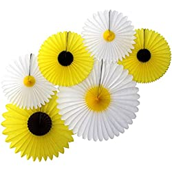 Daisies and Sunflowers - Set of 6 Tissue Paper Party Fans (13 Inch, 18 Inch, and 20 Inch)