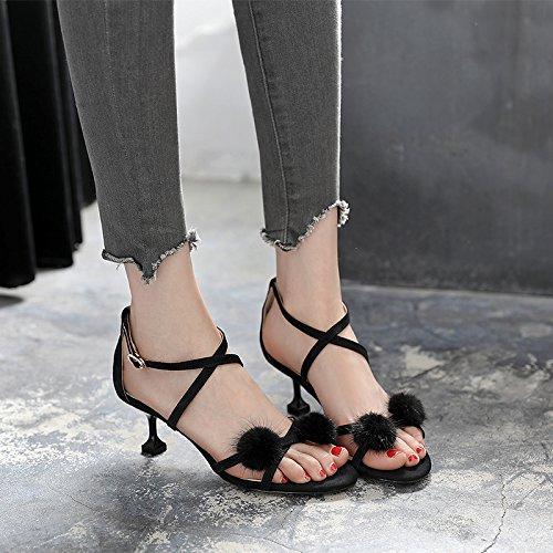 estate il buckle con GTVERNH sandali tacchi gatto alti cinghie 6cm una con sexy con fata in freschi piccole black croce multa 39 q88Xw67
