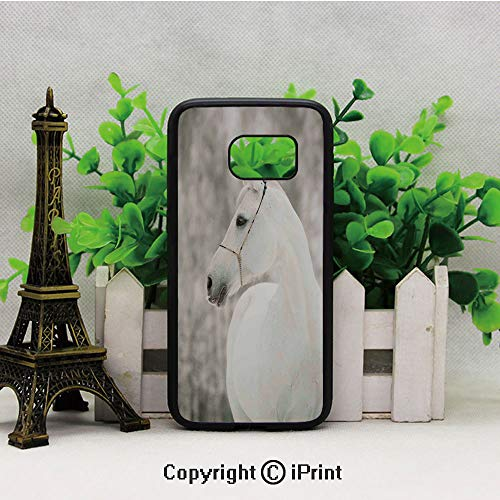White Horse Head Face Portrait Winter Equestrian Purity Power Grace Symbol Decorative Samsung Galaxy S7 Case Hard Back Shock Drop Proof Impact Resist Protective Case for Samsung S7 Eggshell