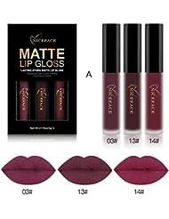 Tenworld 3PCS Sexy Lip Gloss Kit Waterproof Matte Liquid...
