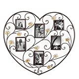 Cheap Homebeez Black Iron Heart-Shape Picture Frame Collage with Scroll and Burlap Flower Design, 6 Openings, 4×6, 4×4