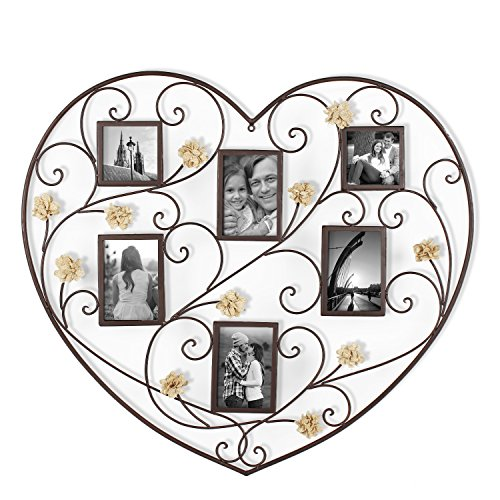 Scroll Heart - Homebeez Black Iron Heart-Shape Picture Frame Collage with Scroll and Burlap Flower Design, 6 Openings, 4x6, 4x4
