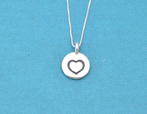 Little girls, girls, teens or womans heart necklace in silver plated pewter on an 16 sterling silver box (Plated Pewter Heart)
