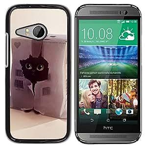 TopCaseStore / la caja del caucho duro de la cubierta de protección de la piel - Funny Cute Cat - HTC ONE MINI 2 / M8 MINI