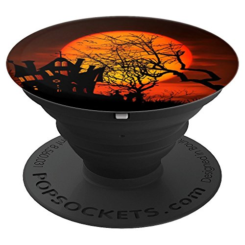 Pedestal House (Spooky Haunted House Halloween Harvest Moon Silhouette Scene - PopSockets Grip and Stand for Phones and Tablets)